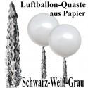 Ballonquaste Schwarz-Weiß-Grau aus Papier