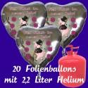 """Silvester Dekoration, 20 Luftballons, silberne Herzen, """"Viel Glück im neuen Jahr"""", mit 2,2 L Helium-Einweg"""