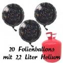 """Silvester Dekoration, 20 Luftballons, """"Happy New Year"""" schwarz, mit 2,2 L Helium-Einweg"""