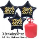 Silvester Dekoration, 20 Luftballons, schwarze Sterne, 2021, mit 2,2 L Helium-Einweg