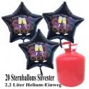 Silvester Dekoration, 20 Luftballons, schwarze Sterne, 2021, Frohes Neues Jahr, mit 2,2 L Helium-Einweg