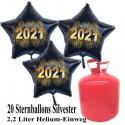 Silvester Dekoration, 20 Luftballons, schwarze Sterne, goldene 2021, mit 2,2 L Helium-Einweg