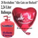 Helium- Einwegbehälter mit 20 Herzballons Alles Gute zur Hochzeit
