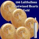 Ballons Helium Set Maxi, 100 goldene Luftballons mit verschlungenen Herzen zur Hochzeit