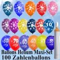 Maxi-Set 10, 100 Zahlenluftballons, Geburtstag-Jubiläum, mit Helium