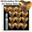 Maxi-Set-Hochzeit, 100 Folienballons Herzen 50-Gold, 10 Liter Helium - zur Goldenen Hochzeit