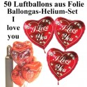Maxi-Set 8, 50 Herzballons aus Folie, I Love You, mit Helium