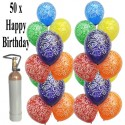 Geburtstags-Midi-Set 1, 50 Geburtstagsluftballons, 3,5 Liter Helium