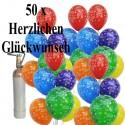 Herzlichen-Glückwunsch-Midi-Set 2, 50 Luftballons, 3,5 Liter Helium