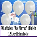 Midi-Set, Luftballons zur Hochzeit steigen lassen, 50 Hochzeitsluftballons in Perlmutt-Elfenbein, Just Married, mit Helium