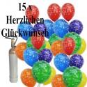 Geburtstags- und-Jubiläums-Mini-Set, 15 Luftballons Herzlichen Glückwunsch, 1 Liter Helium