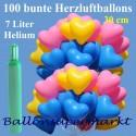 Maxi-Set 1BA, 100 bunte Herzluftballons 30-33 cm mit Helium (Farbauswahl)