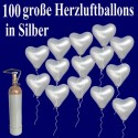 Herzluftballons mit Helium in Silber, Maxi-Set, 100 Ballons und Ballongasflasche