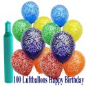 Maxi-Set 5, 100 Luftballons mit Helium Happy Birthday, Geburtstag
