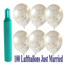 Maxi-Set 9, 100 Hochzeitsluftballons, Just Married, mit Helium