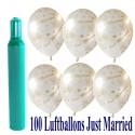 Maxi-Set 9, 100 Hochzeitsluftballons, Just Married, mit Helium