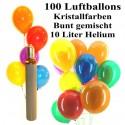 Maxi-Set 3, 100 bunte Luftballons Kristall mit Helium (gemischt)