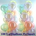 Maxi-Set 11, 100 Luftballons Perlmutt, mit Helium, Farbauswahl