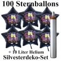 Maxi-Set Silvester, 2020 - Champagner und Feuerwerk, 100 Sternballons aus Folie (Schwarz) mit Helium
