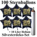 Maxi-Set Silvester, 2020 - Happy New Year, 100 Sternballons aus Folie (Schwarz) mit Helium