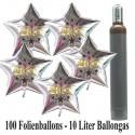 "Maxi-Set Silvester, ""2021"", 100 silberne Sternballons aus Folie mit Helium"
