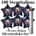 Maxi-Set Silvester, 2021 - Champagner und Feuerwerk, 100 Sternballons aus Folie (Schwarz) mit Helium