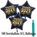 Maxi-Set Silvester, 2021 - Feuerwerk, 100 Sternballons aus Folie (Schwarz) mit Helium