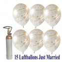 Mini-Set 7, 15 Hochzeitsluftballons, Just Married, 1 Liter Helium