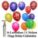 Geburtstags-Mini-Set 3, 8 Ballons Herzlichen Glückwunsch, 8 Zahlenballons, 1 Liter Helium