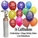 Geburtstags-Mini-Set 4, 8 Luftballons Geburtstag, 8 Zahlenballons, 1 Liter Helium
