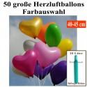 Maxi-Set 1B-45, 50 Herzluftballons 40-45 cm mit Helium, Farbauswahl