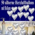 Herzluftballons mit Helium in Silber, Maxi-Set zur Silbernen Hochzeit, 50 Ballons und Ballongasflasche