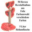 Maxi-Set 4, 50 Herzballons aus Folie (Farbauswahl) mit Helium