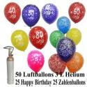 Geburtstags-Midi-Set 4, 25 Luftballons Geburtstag, 25 Zahlenballons, 3,5 Liter Helium