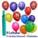 Geburtstags- und Jubiläums-Midi-Set 3, 25 Ballons Herzlichen Glückwunsch, 25 Zahlenballons, 3,5 Liter Helium