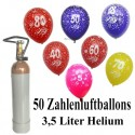 Geburtstags-Midi-Set 5, 50 Zahlenluftballons, Jubiläumszahlen, 3,5 Liter Helium