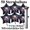 Midi-Set Silvester, 2020 - Champagner und Feuerwerk, 50 Sternballons aus Folie (Schwarz) mit Helium