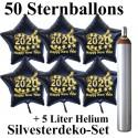 Midi-Set Silvester, 2020 - Happy New Year, 50 Sternballons aus Folie (Schwarz) mit Helium