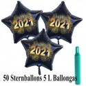 Midi-Set Silvester, 2021 - Feuerwerk, 50 Sternballons aus Folie (Schwarz) mit Helium