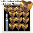 Midi-Set-Hochzeit, 30 Folienballons Herzen 50-Gold, 3 Liter Helium - zur Goldenen Hochzeit