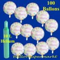 Maxi-Set, Geburtstag, 100 Folienballons, Happy Birthday, mit Helium