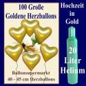 Herzluftballons mit Helium in Gold, Maxi-Set zur Goldenen Hochzeit, 100 Ballons und Ballongasflasche