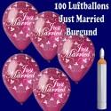 Ballons Helium Maxi Set Hochzeit, 100 Hochzeitsluftballons, Just Married in Burgund, mit Helium