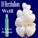 Mini-Set 1B, 18 weiße Herzluftballons mit Helium / inkl. Rückporto