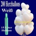 Super-Maxi-Set 1W, 200 weiße Herzluftballons mit Helium