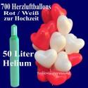 Hochzeit Mega-Set 1A, 700 rote und weiße Herzluftballons mit Heliumflasche
