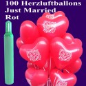 Maxi-Set-Hochzeit, 100 rote Just Married Herzluftballons mit Helium