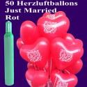 Midi-Set-Hochzeit, 50 rote Just Married Herzluftballons mit Helium