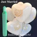 Maxi-Set-Hochzeit, 100 weiße Just Married Herzluftballons mit Helium