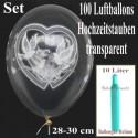 Maxi-Set Hochzeit, 100 Hochzeitsluftballons, Hochzeitstauben, Ringe und Herzen, mit Helium